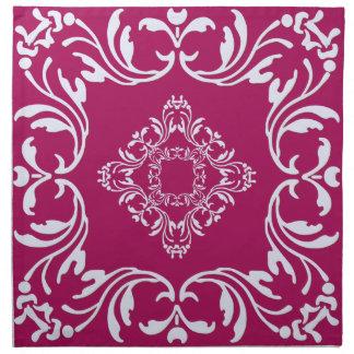 Bakgrund för mönster   Rubine för vit damastast rö Tygservett