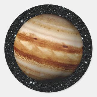 Bakgrund för PLANETJUPITER v.4 stjärna (det sol- Runt Klistermärke