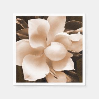 Bakgrund för svart för Sepia för vitMagnoliablomma Pappersservett
