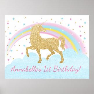 Bakgrund för Unicornfödelsedagsfestaffisch Poster