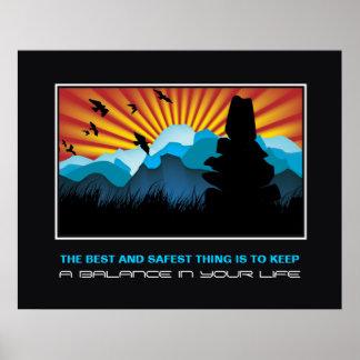 Balansera stenhögen i motivational tryck för berg posters