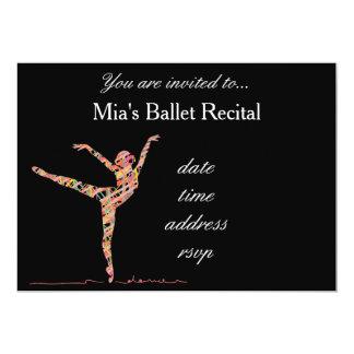 Balett- eller danshögläsning 12,7 x 17,8 cm inbjudningskort