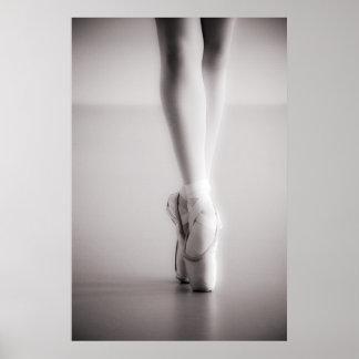 Balett Pointe skor Sepiadanstofflor Poster