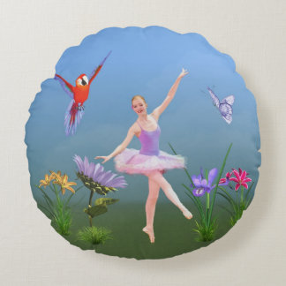 Balettfantasi, blommor, papegoja, fjäril rund kudde