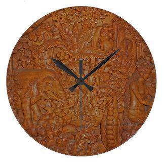 Bali tar tid på den Wood snida väggen Stor Rund Klocka