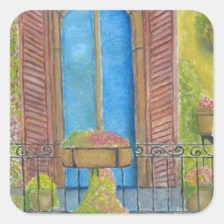 balkong med växter fyrkantigt klistermärke