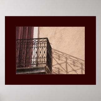 Balkongen i Provence, järnarbete och skuggar Poster