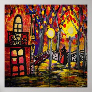 Balkongen på natten värderar (Matte) Poster