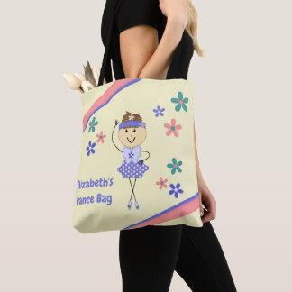 Ballerina för lilor för blommigtpersonlignamn tygkasse