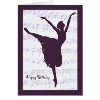 Ballerina framme av notbladfödelsedagkortet hälsningskort