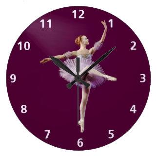 Ballerina i lila- och vitanpassade stor klocka