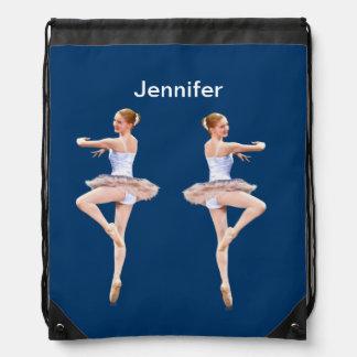 Ballerina i lila- och vitanpassadenamn gympapåse
