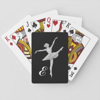 Ballerina i silver och svart med monogramen spel kort