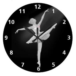 Ballerina i silver- och svartanpassade stor klocka