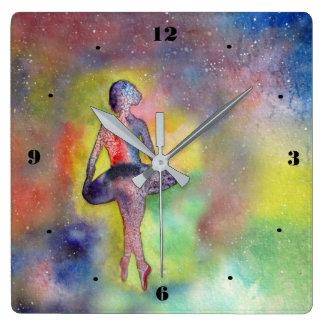 Ballerina - lättrogen konstmålning kvadrerar fyrkantig klocka
