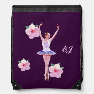 Ballerina med rosa hibiskusblommor, Monogram Gympapåse