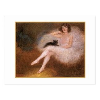 Ballerina och svartkatt vid den Pierre Vykort