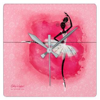 Ballerina på barren fyrkantig klocka