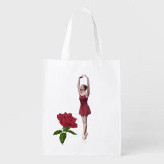 Ballerina på Pointe med röd ros Återanvändbar Påse