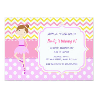 Ballerins flickafödelsedagsfest inbjudan
