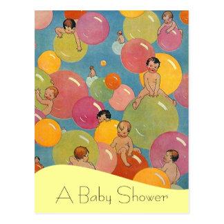 Ballong för meddelanden för vykortvintagebaby show vykort