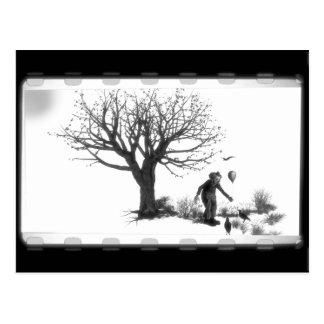 Ballongclown & Ravens vid det kusliga träd - B&W Vykort