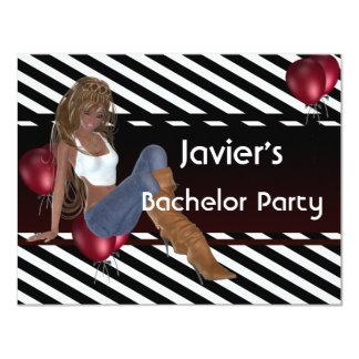 Ballonger 3 för gullig flicka för ungkarlparty 10,8 x 14 cm inbjudningskort