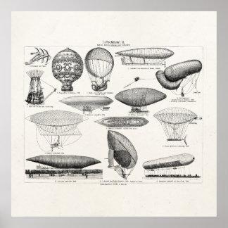 Ballonger för Retro fartyg för vintageluftballong Poster