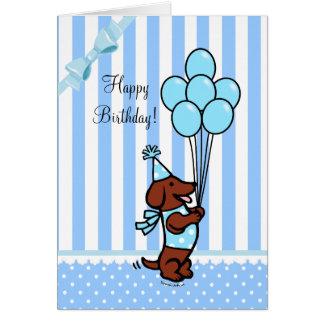 Ballonger för taxfödelsedagtecknad hälsningskort