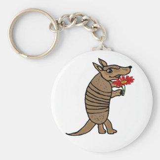 Bältdjur för tecknad CY med en daisy Keychain Rund Nyckelring