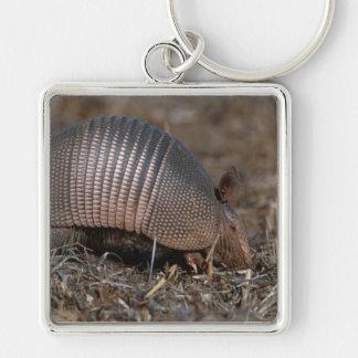 Bältdjur Fyrkantig Silverfärgad Nyckelring