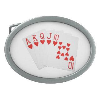 Bältet för pokerroyalspolningen spänner fast