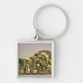 Bältet spänner fast, från en Siberian samling av P Fyrkantig Silverfärgad Nyckelring