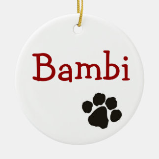 Bambi - hundhänge rund julgransprydnad i keramik