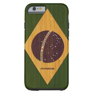 Bambumönster & inristad vintageBrasilien flagga Tough iPhone 6 Fodral