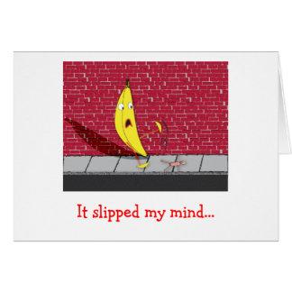 Banan som halkar - den halkade mitt varar besvärad hälsningskort
