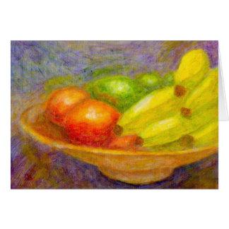 Bananer, tomater och limefrukter, hälsningkort hälsningskort