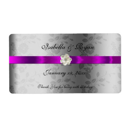 Band & blomma för etikett för bröllopWine/vatten Fraktsedel