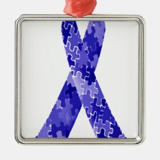 Band för blåttpusselmönster julgransprydnad metall