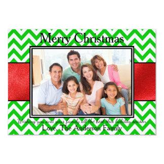 Band för grön sparre för foto rött - julkort 12,7 x 17,8 cm inbjudningskort