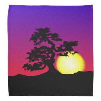 Bandana för solnedgångBonsaiSilhouette
