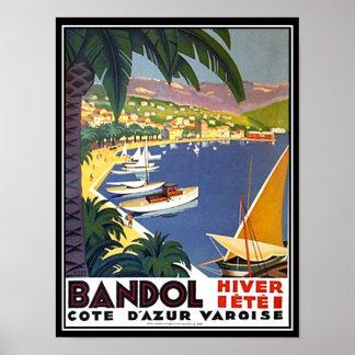 Bandol Cote d'Azur frankriken reser affischtrycket Poster