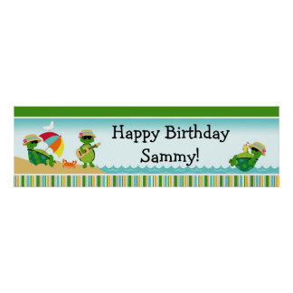 Baner 40x12 för sköldpaddaLuau födelsedagsfest Poster