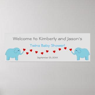 Baner för baby shower för pojkar för elefanttema t poster