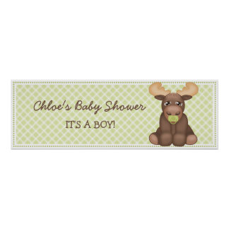 Baner för babyälgbaby shower poster