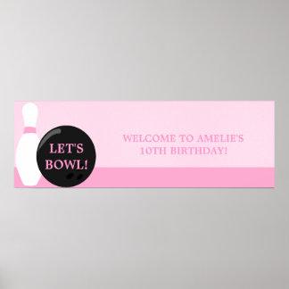 Baner för bowlingflickafödelsedagsfest poster