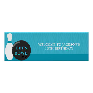 Baner för bowlingpojkefödelsedagsfest poster