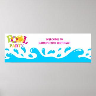 Baner för födelsedag för flicka för party för vatt poster