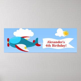 Baner för födelsedag för flygplanbanerpojke poster