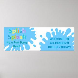 Baner för födelsedag för pojke för party för Splis Poster